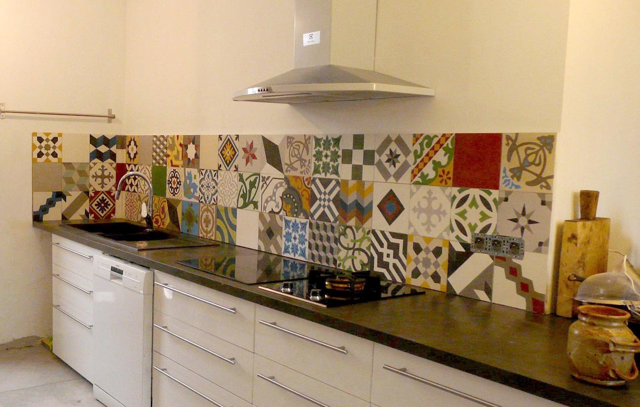 Cr dence en carreaux de ciment carr 39 elle for Patchwork carreaux de ciment